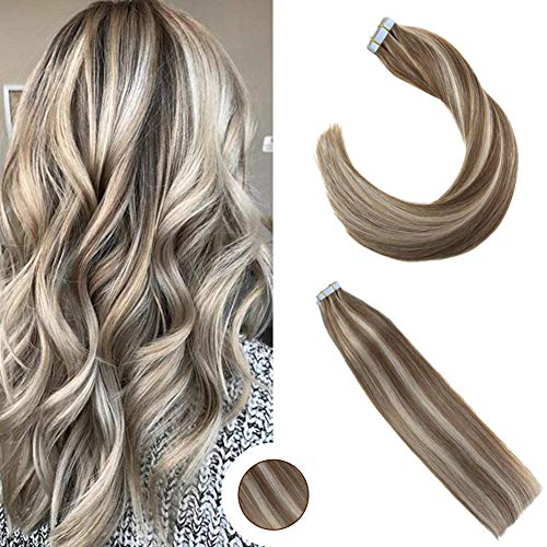 Ugeat 50g Extensions Echthaar Tape in Remy Tressen Blond Echthaar 20zoll/50cm Two Tone Piano Color Piu Leggero Marrone con Bio