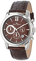 Lucien Piccard Mens LP-12356-04 Mulhacen Chronograph Brown Textured Dial Brown Leather Watch