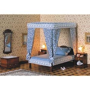 MiniMundus Baldachin Bett / Doppelbett für das Puppenhaus, Bausatz