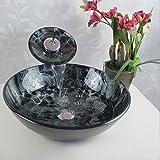 Himylen Waschbeckenarmatur aus Glas Waschbecken Waschschale mit Wasserfall Waschtisch Handwaschbecken Waschtischarmatur mit Einbauring und Ablaufventil