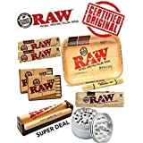 OutonTrip Bundle - 10 Items - RAW Rolling Paper, Pre-Rolled Tips, Tin Case,Large Rolling Tray And Roller With Classic Metalic Grinder And Bamboo Rolling Mat Also INCLUDES - OutonTrip Paper Astray Box ((rolling Paper Combo/ Rolling Paper Set/ Ocb Combo/ Sm