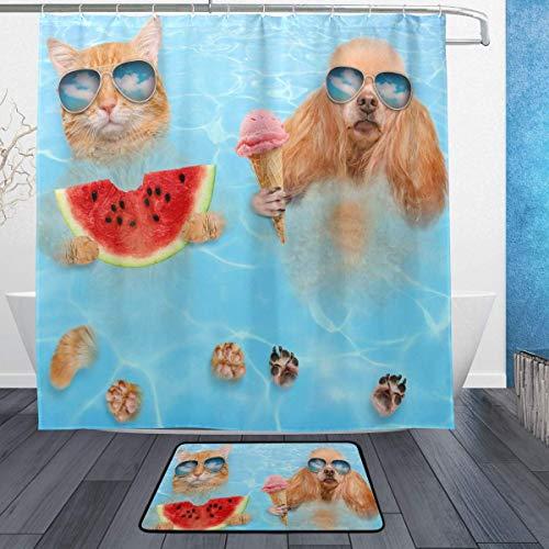 AdaCrazy Katze Hund mit Sonnenbrille Entspannen Hintergrundmuster Duschvorhang Set 3D-Druck Wasserdicht beschichtetes Polyestergewebe Bad mit 12 Haken 71 Zoll Mat Badteppiche 60x40cm