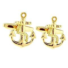 Idea Regalo - Honey Bear Anchor Sailor gemelli per camicia da uomo, in acciaio INOX, nave barca a vela ,regalo di nozze d'affari (oro)