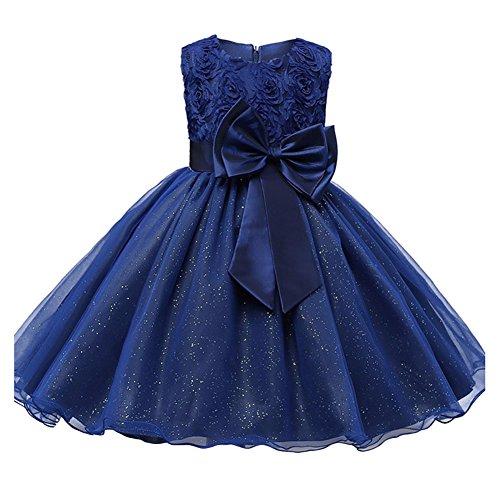 dchen Princess Weihnachten Party Wedding Costume Kleider Dark Blau 100CM ()