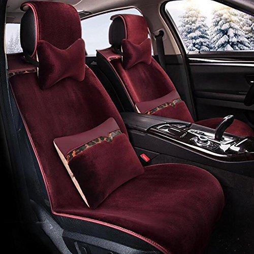 R Plüsch Auto Sitz Kissen Material Winter Sitzbezug umgeben von afive Sitz, Wine Red, B
