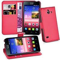 Huawei Y550 Hülle in ROT von Cadorabo - Handyhülle mit Kartenfach und Standfunktion für Huawei Y550 Case Cover Schutzhülle Etui Tasche Book Klapp Style in KARMIN ROT