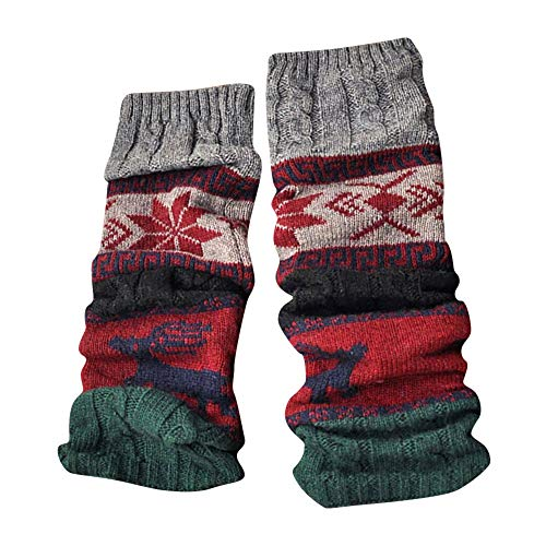 OSYARD Damen Stulpen Beinwärmer Legwarmers, Winter Warme Beinlinge Gestrickt Lange Socken Leggings Weihnachten Schneeflocke Wollsocken Christmas Wintersocken Stockings Mid Tube