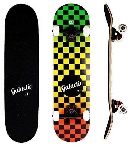 GALACTIC Komplettes Double Kick Trick Skateboard, geeignet für Kinder und Erwachsene, 7-lagiges Hard Rock Ahorn Deck, mit Trucks aus Aluminiumlegierung und 52mm/95A Rädern mit ABEC-9 Lagern (Rasta)