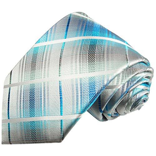 Paul Malone Türkis grau gestreifte XL- Krawatte 100% Seidenkrawatte (in 165cm Überlänge)