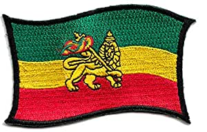 ecusson rasta jamaique lion etoile reggae thermocollant 9x5cm patche badge