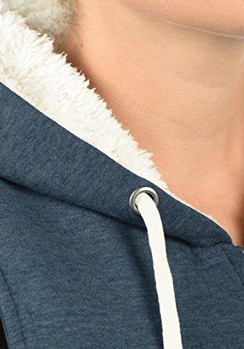 DESIRES DerbyPileWeste Damen Übergangsweste Zip Hoodie mit Kapuze und Teddyfutter aus hochwertiger Baumwollmischung Insignia Blue Melange (8991)