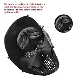 UNOMOR Full Face Skull Mask with Metal Mesh Eyes Protection for Airsoft Paintball Game Party Costume - Black by UNOMOR