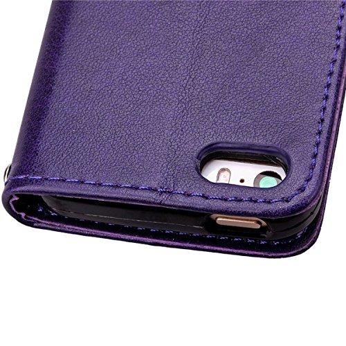 Ekakashop Apple iphone 5C Custodia portafoglio / wallet / libro in pelle - Cover elegante e di alta qualità, porta carte di credito e banconote Stampa creativa e cinghia portatile Protezione chiusura  Purple