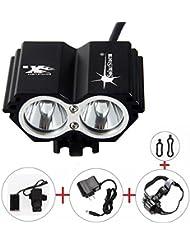 ALED LIGHT® Lampe frontale Solarstorm CREE X2Phare LED de vélo Lampe de poche Noir avec 4x 18650Battery Pack 6400mAh