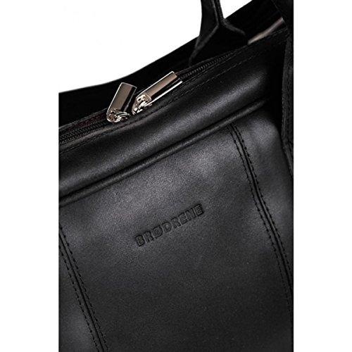 Brodrene Echtes Leder Herren Reisetasche Sporttasche Wochenende Schulter Premium Tasche Premium BL10 (Braun/Schawrz) Schwarz/Schwarz
