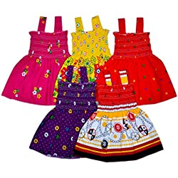 Sathiyas Baby Girls Gathered Dresses (Pack of 5) (2-3 Years)