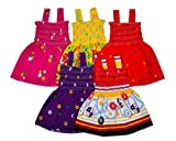 #9: Sathiyas Baby Girls Gathered Dresses Pack of 5 - (Multicolour_0-6 Months)