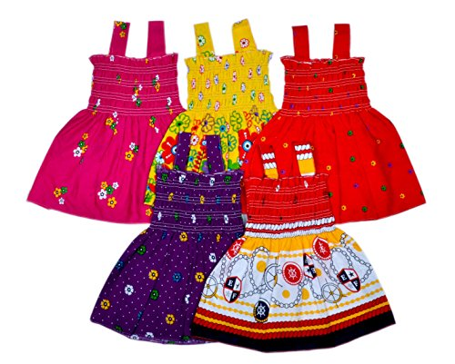 Sathiyas Baby Girls Cotton Gathered Dresses (Multicolor, Set of 5, 2-3 Years)