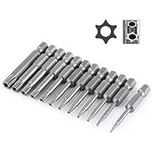 JTENG 12 piezas vástago magnético tornillos torx seguridad 50 mm largo extensión Vástago hexagonal de 1/4 puntas de Torx de seguridad Destornillador Bit Torx T8 - T40