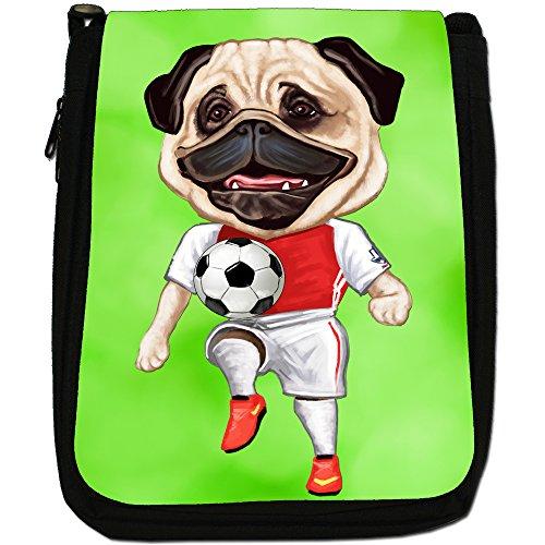 Pug-Athlete Rugby-Pallone da calcio, Tennis-Borsa a tracolla in tela, colore: nero, taglia: M Nero (England Football Player Pug)