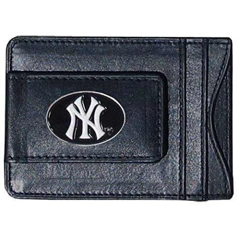 Major League Baseball New York Yankees Money Clip Card Holder Top Grain Leather by Siskiyou