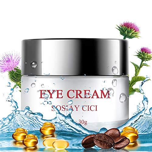 Augenpflege Creme Premium Antialterung Lösung für Falten, Augenringe, Schwellungen und Fältchen mit Hyaluronsäure, Koffein, Vitamin E, 30g Under Augencreme