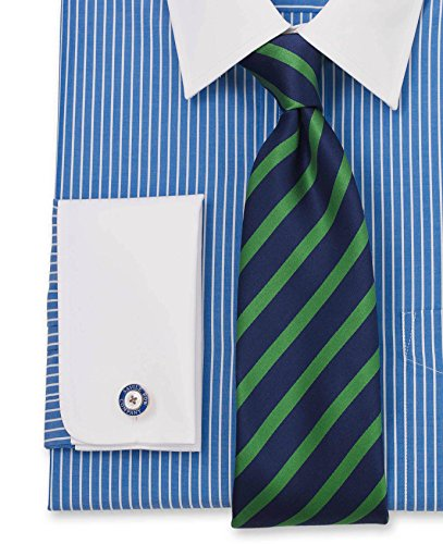 Savile Row Men's Blue White Stripe White Collar And Cuff Classic Fit Double Cuff Shirt Blue White