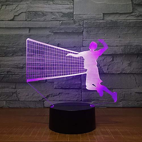 Dtcrzjxh Herren-Volleyball Block 3D -Led -Lampe 7 Farbe Führen Nachtlampen Für Kinder Touch -Led Usb -TabelleBaby -Schlafnacht -