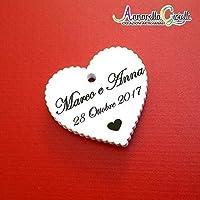 Cartellini per bomboniera personalizzati, bomboniere, cuore, etichette,matrimonio, battesimo, comunione, cresima