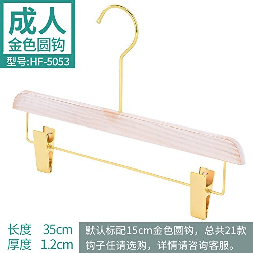 SQYJ Weiss Neue Koreanische Version Gold Hook's Kleidung Shop Massivholz Hanger Wholesale Frauen Holz Holz, 1, Silber 5053 Lange Hosen mit Gold Circle