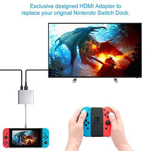 PHADEN USB Type C auf 4K HDMI Adapter für Nintendo Switch, USB C PD Ladeanschluss und USB-A 3.0 Hub HDMI Konverter Kabel für Macbook Pro 2017 2016, Samsung Galaxy S8 Plus - Galaxy Samsung Tablet-tv-adapter