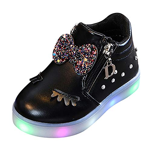 SOMESUN Mädchen Süße Fliege LED Licht Sportschuhe Baby Prinzessin Modisch Wimpern Leuchtend Weich Leichtgewicht Schnürhalbschuhe Sneaker Freizeit Lederschuhe Laufschuhe