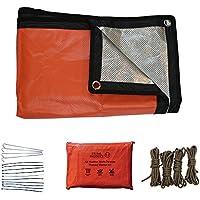 Novedad 2017. Kit de emergencia con manta térmica reusable naranja, apto para cualquier condición climatológica. Contiene manta de aluminio plateado reflector, de tamaño grande, cuatro piquetas