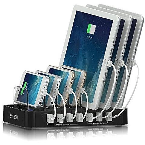 Satechi Estación de Carga con 7 Puertos USB para iPhone 6 Plus / 6 / 5S / 5C / 5 / 4S, iPad Pro / Air / Mini / 3/2/1, Samsung Galaxy S6 Edge / S6 / S5 / S4 / S3 / Nota / Nota 2 / Tab, iPod, Nexus, HTC, y más (7-Puertos