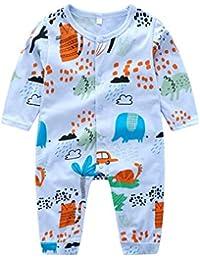 Baby Boy Girl Jumpsuit de manga larga con botones de mameluco de dibujos animados Newbron Infant Bodysuit