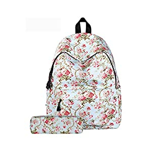 51gKEZOd2xL. SS324  - Juego de 2,Backpack Mochilas Escolares Mujer Mochila Escolar Lona Bolsa Casual Bolsa De Hombro Mensajero con estuche de lápiz