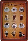 Blechschild Kaffee Sorten Tassen Koffee 20 x 30 cm Reklame Retro Blech 824