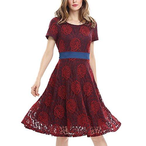 iShine Robe de Soirée Dentelle Femmes Cocktail Imprimé Robe Casual Rouge