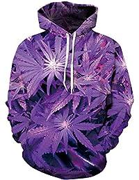 Unbekannt Sudadera con Capucha Purple Cannabis Leaf 3D Graphic Jersey Manga…