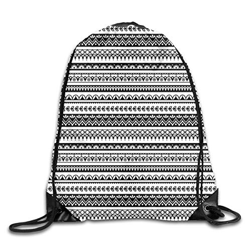 EELKKO Drawstring Backpack Gym Bags Storage Backpack, Tribal Mehndi Pattern with Striped Henna Tattoo Mandala Damask Folk Effects,Deluxe Bundle Backpack Outdoor Sports Portable Daypack