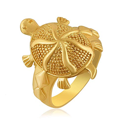 Dhan laxmi Gold Plated Vaastu Fengshui Kachua Tortoise Good Luck Charm Fashion Finger Ring for Men and Women Pack of 2