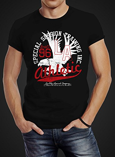 Neverless Herren T-Shirt Athletic Adler Eagle Sport College Slim Fit Schwarz