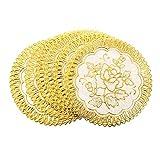 SODIAL (R) 6 Fein Gold-Ton Blume Esstisch Tasse-Matten-Auflage