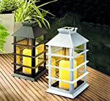 Schwarze Moderne Solar Laterne mit LED Beleuchtung mit LED Kerzen flackernd im Inneren - hochwertige Solarleuchte aus Kunststoff Metall und Glas (schwarz)