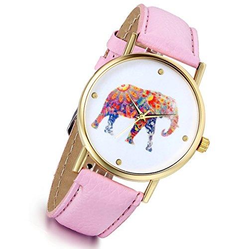 lancardo Vintage para Mujer Niñas Damas Tribu Elefante Patrones Vogue de Cuarzo muñeca Relojes (Rosa)
