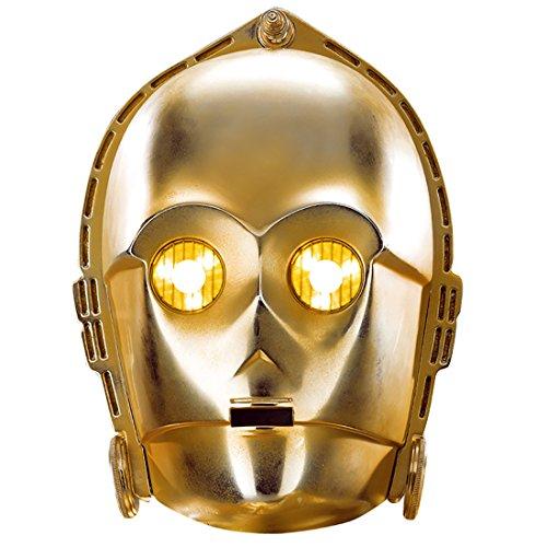 Amakando Star Wars Pappmaske Filmmaske Droide Starwars Fanmaske Roboter Maske Fanartikel C-3PO Maske