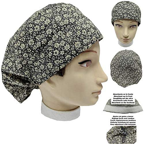 Cappello sala operatoria donna FIORI DORATI per capelli lunghi Asciugamano assorbente sulla fronte facilmente regolabile medico Infermiera Chirurgo Dentista Veterinario cucinare