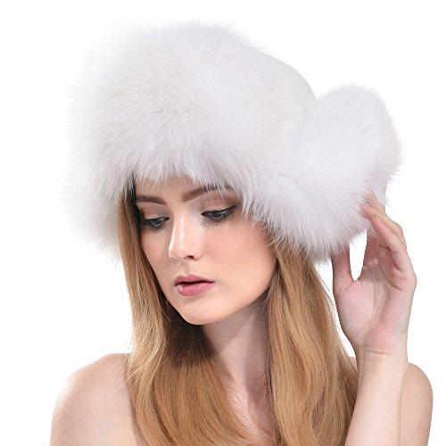 Vemolla Damen Wahr Fuchs Pelz Hut mit Echtes Leder Kopf und Pelz Pom Pom Schwarz (Pelz-pom-pom Echte)