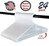Heavy Duty White Plastic Tubular Hangers Set of 24 Made in The USA by Hangorize