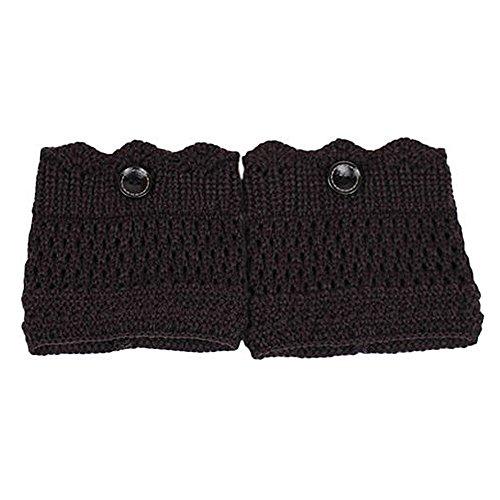 �rmer, Crochet Knit One Button Stiefel Socken Topper Manschette Universal Winter Zubehör (schwarz) ()